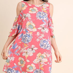 UMGEE cold shoulder floral bell sleeve mini tunic